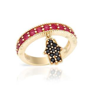Ring with 1.6ct TW Rubies and Spinels in Yellow Gold