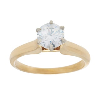 14K Two-tone Gold Solitaire 1.08ct TW Diamond Solitaire Ring