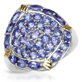 Ring with 3.6ct TW Tanzanites in 14K/925 Gold-plated Silver