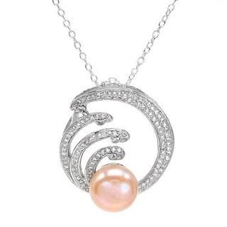 Necklace with 2.3ct TW Cubic Zirconia and 10mm Freshwater Pearl in .925 Sterling Silver