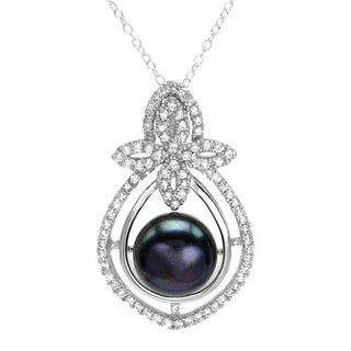 Necklace with 1.80ct TW Cubic Zirconia and 12.0mm Freshwater Pearl in 925 Sterling Silver