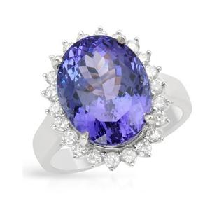 Ring with 10.20ct TW Diamonds and Tanzanite of 14K White Gold