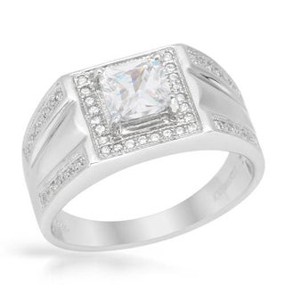 Men's Ring with 2.45ct TW Cubic Zirconia in Platinum coated Sterling Silver