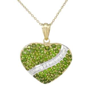 Heart Necklace with Cubic Zirconia/ Diopsides 14K/925 Gold-plated Silver
