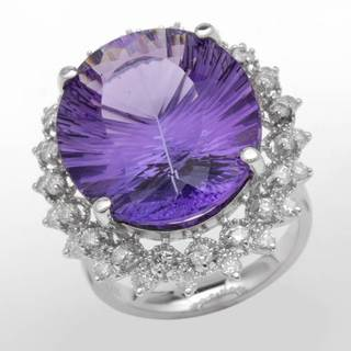 Cocktail Ring with 18.80ct TW Genuine Amethyst and Diamonds in 14K White Gold