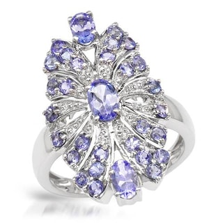 Ring with 1.88ct TW Tanzanites in .925 Sterling Silver