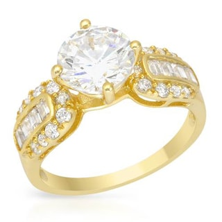 18K Gold-plated Silver Majestic Round and Baguette-cut CZ Ring