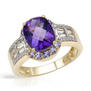 Amethyst/ Tanzanite/ Topaz Gold-plated Silver Ring