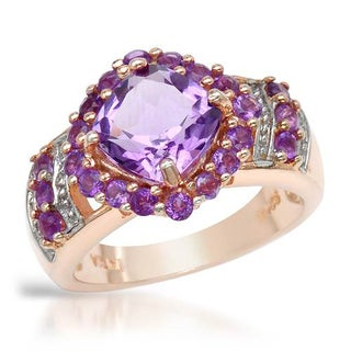 Ring with 3.08ct TW Amethysts in 14K/925 Gold-plated Silver