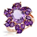 Ring with 5.76ct TW Amethysts in 14K/925 Gold-plated Silver