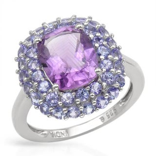 Ring with 3.77ct TW Amethyst and Tanzanites in .925 Sterling Silver Size 8