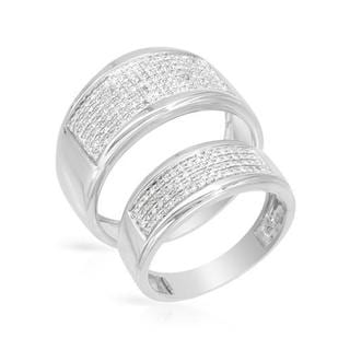 White Gold Diamond Matching His and Hers Wedding Ring Set