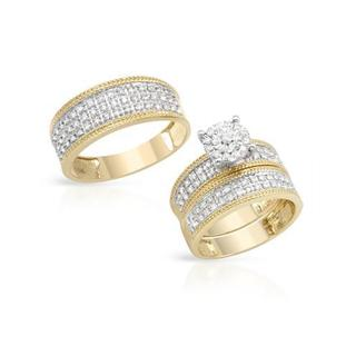 14k Two-tone Gold 1ct TDW Diamond Matching His and Hers Wedding Ring Set