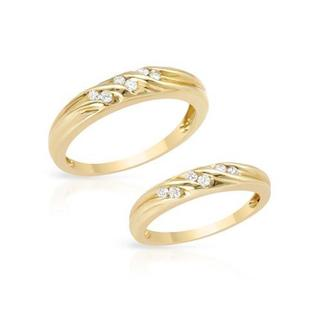 14k Yellow Gold 1/10ct TDW Diamond Matching His and Hers Wedding Ring Set