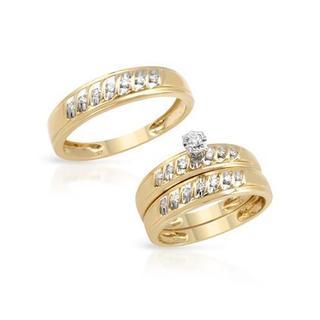 14k Yellow Gold Diamond Matching His and Hers Wedding Ring Set