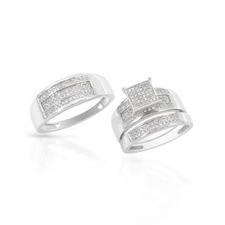 14k White Gold 0.6ct TDW Diamond Matching His and Hers Wedding Ring Set