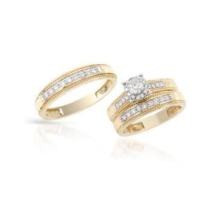 Two-tone Gold 0.83ct TDW Diamond Matching His and Hers Wedding Ring Set