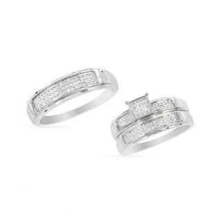 14k White Gold Diamond Matching His and Hers Wedding Ring Set