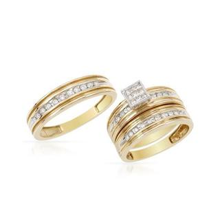 14k Two-tone Gold 1/2ct TDW Diamond Matching His and Hers Wedding Ring Set