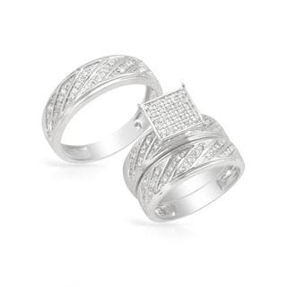 14k White Gold 0.55ct TDW Diamond Matching His and Hers Wedding Ring Set