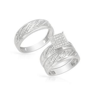 14k White Gold 0.56ct TDW Diamond Matching His and Hers Wedding Ring Set