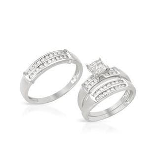 14k White Gold 0.78ct TDW Diamond Matching His and Hers Wedding Ring Set