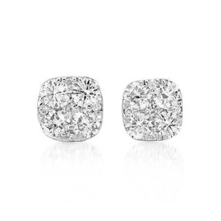 Stud Earrings with Diamonds 14K White Gold