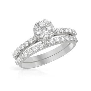 14k White Gold 0.92ct TDW Diamond Bridal Set