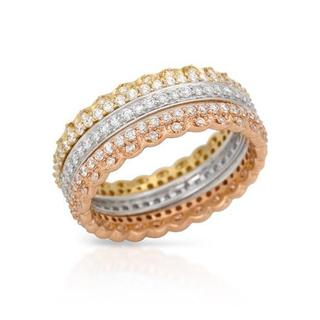 Ring with 1.32ct TW Diamonds in 14K Three-tone Gold