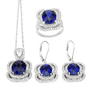 Celine F Jewelry set - Earrings with 25.39ct TW Cubic Zirconia and Created Sapphires in .925 Silver