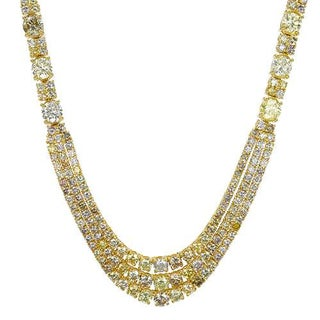 Necklace with 23.46ct TW Genuine Natural Fancy Yellow, Natural Fancy Yellow Diamonds in 18K Yellow G