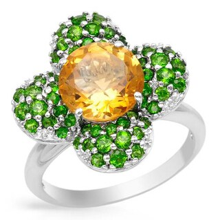 Ring with 4.65ct TW Citrine and Diopsides in White Gold