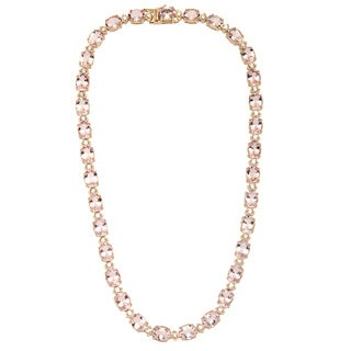 14k Yellow Gold 2.56ct TDW Diamond and Morganite Necklace