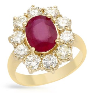Ring with 4.1ct TW Diamonds and Composite Ruby 14K Yellow Gold