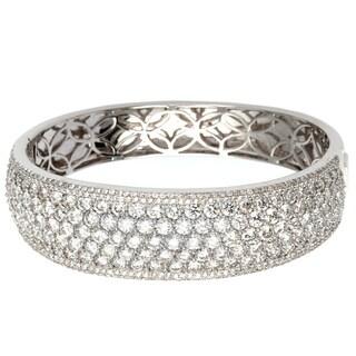 18k White Gold 18.62ct TW Pave Diamond Cuff Bangle Bracelet