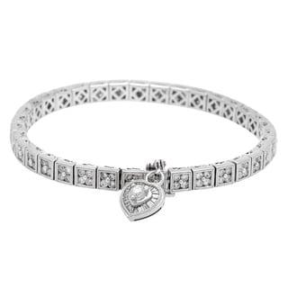 Heart Bracelet with 3.88ct TW Diamonds in 14K White Gold