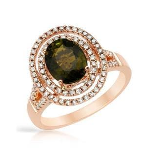 Ring with 2.9ct TW Diamonds and Tourmaline in 14K Rose Gold