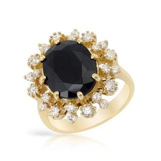 Cocktail Ring with 8.08ct TW Diamonds and Sapphire in 14K Yellow Gold