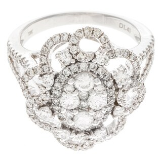 Multi-Round Fashion Engagement Ring with 1.41ct TDW Diamonds in 18K White Gold