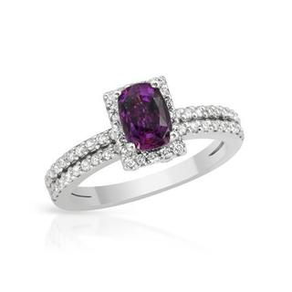14k White Gold 1.91ct TW Diamonds and Rubellite Engagment Ring