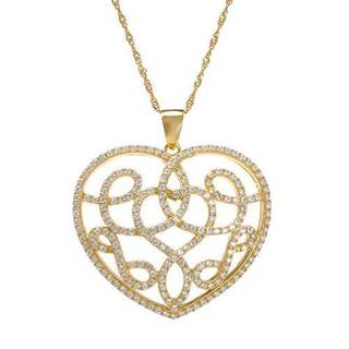 14k Gold-plated Silver 4.14ct TGW CZ Heart Necklace