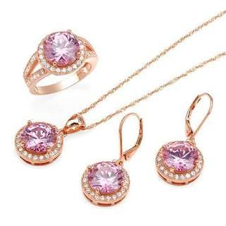 Jewelry set - Earrings with 31.4ct TW Cubic Zirconia in 14K/925 Gold-plated Silver