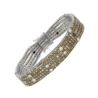 18k White Gold Bracelet with 14.98ct TW Fancy Yellow Natural Brown Diamonds