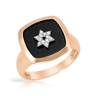 Ring with Diamonds/ Onyx 14K Rose Gold