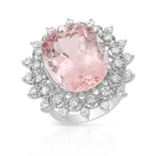 Ring with 18.88ct TW Genuine Diamonds and Morganite in 14K White Gold