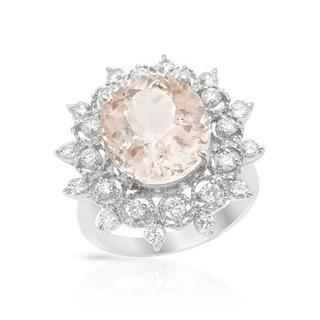 Cocktail Ring with 8.9ct TW Diamonds and Morganite 14K White Gold