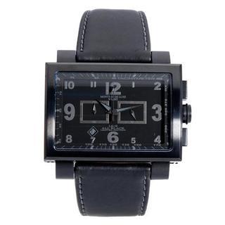 Estremo Men's 1690 Black Leather Chronograph Watch