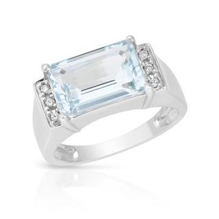 Ring with 3.73ct TW Aquamarine and Diamonds in 14K White Gold