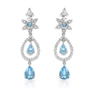 Earrings with 4.9ct TW Diamonds, Topazes in 18K White Gold