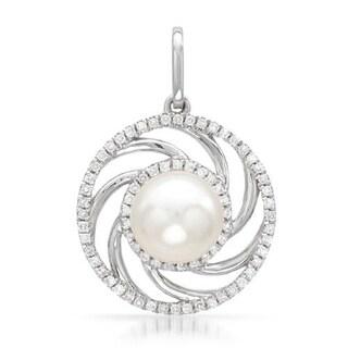 Vida Pendant with Diamonds/ 70mmFreshwater Pearl in 14K White Gold